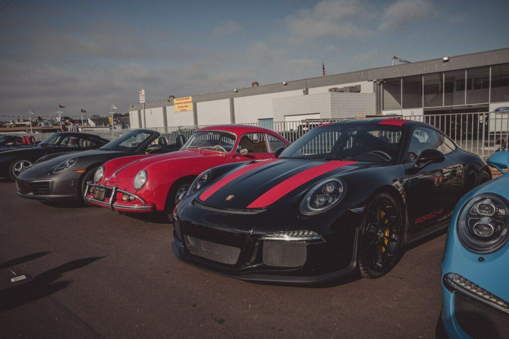 Porsche 911 R parked next to a 356 A Coupe