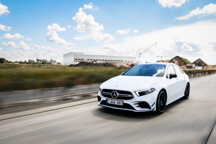 White Mercedes-AMG A35 Sedan