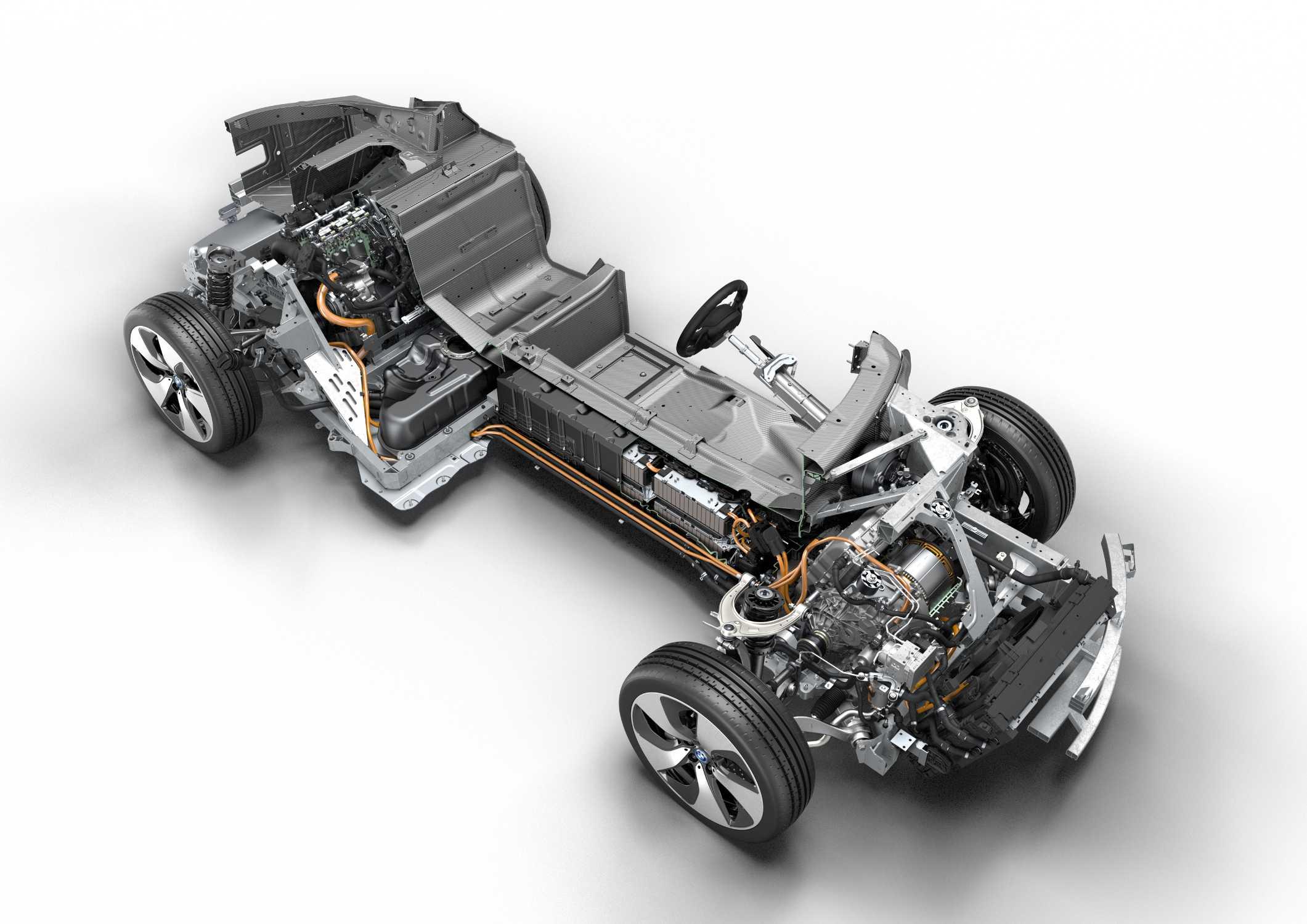 A view of a BMW B38A15T0 1.5L turbocharged I3 Hybrid engine