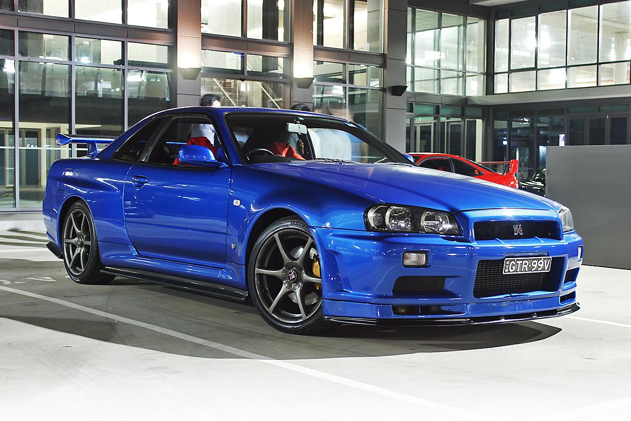 Blue Nissan GT-R r34