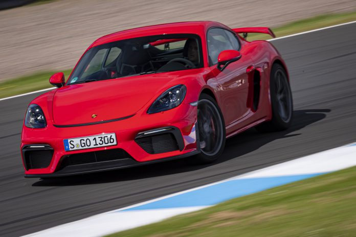Red Porsche 718 Cayman GT4