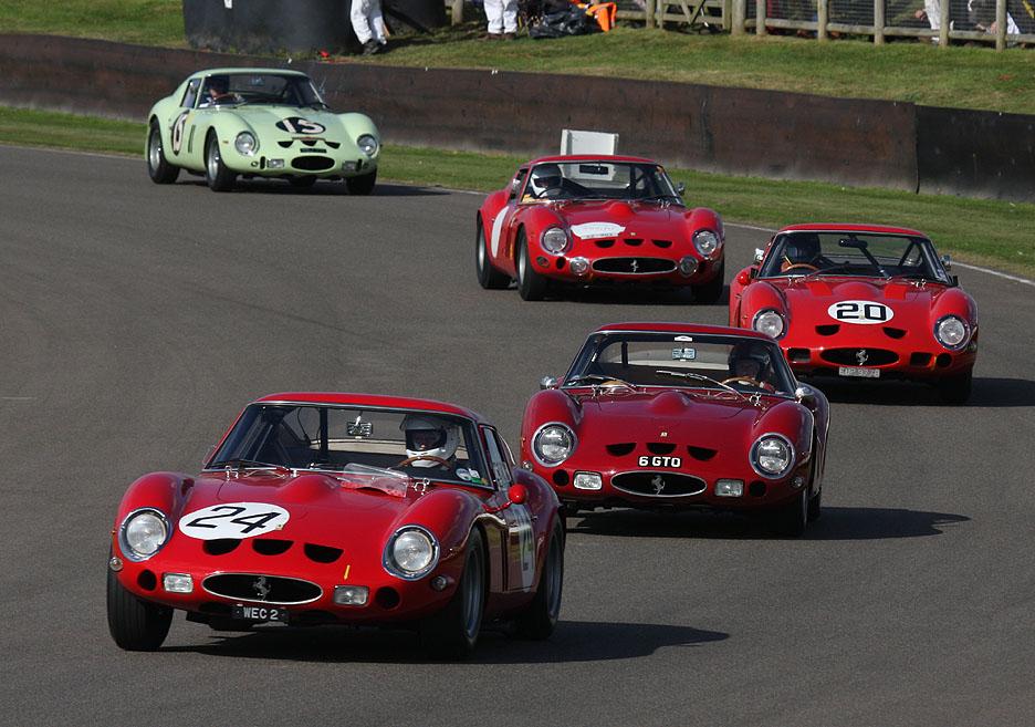 Vintage Ferraris on the racetrack