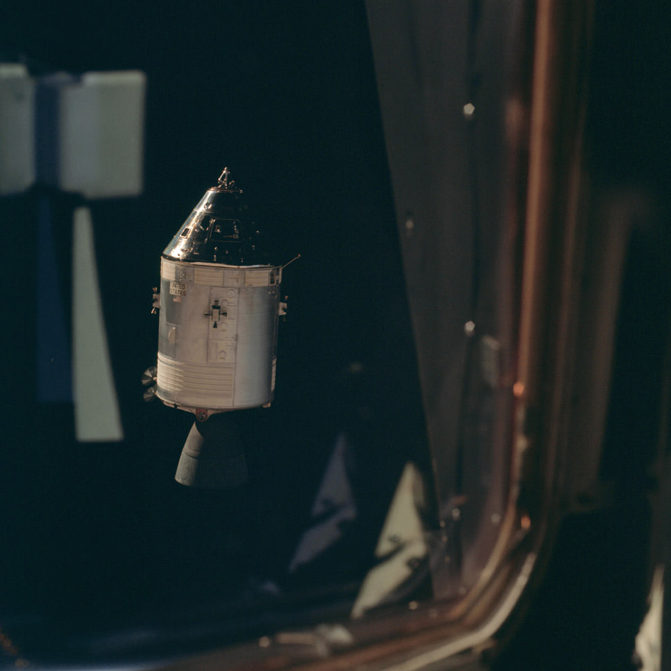 The Command Service Module (callsign: Gumdrop) seen from the Lunar Module.
