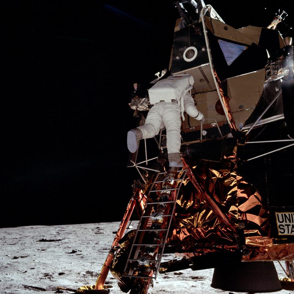Neil Armstrong captures Buzz Aldrin descending on to the Lunar surface.