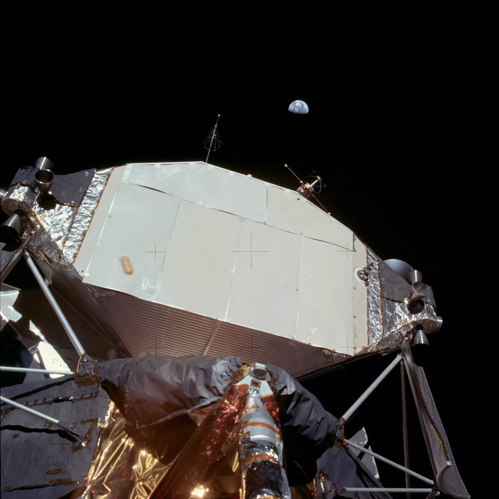 The Lunar Module pointing towards its eventual destination.