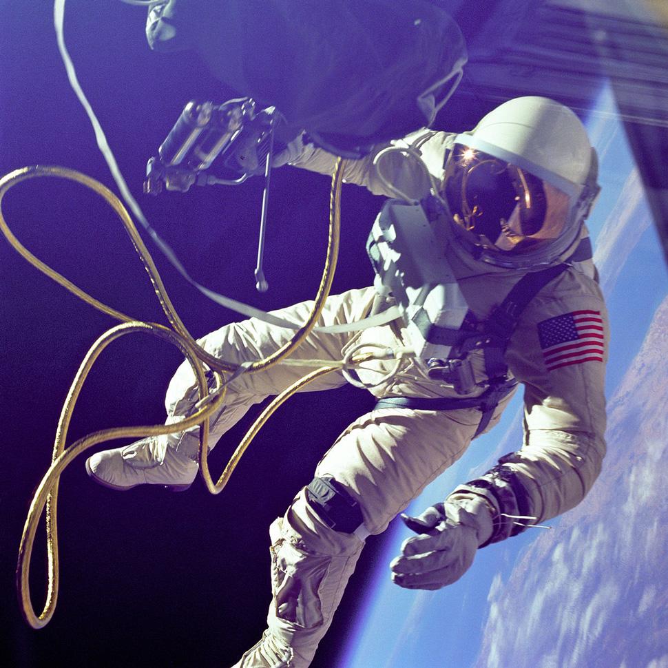 June, 1965: Ed White takes the first U.S spacewalk on Gemini 4