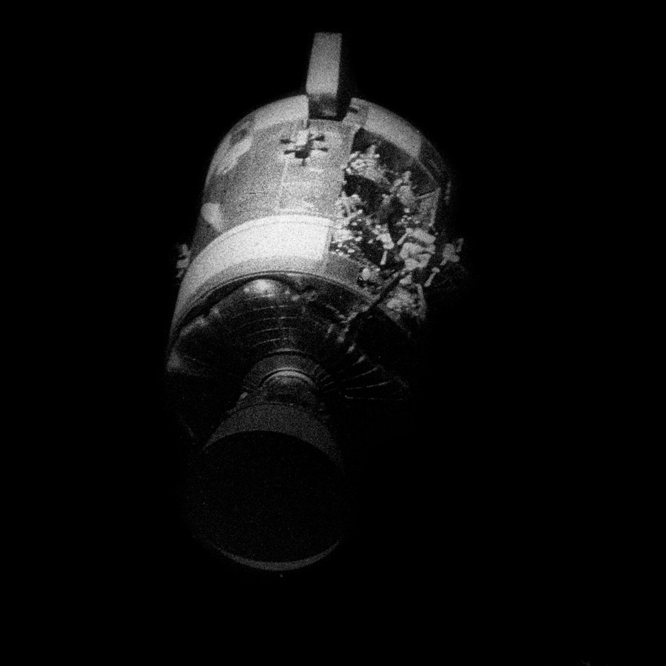 After an oxygen tank exploded in the Service Module Apollo 13 had to abandon its original mission and try to limp home while seeking refuge in the Lunar Module.