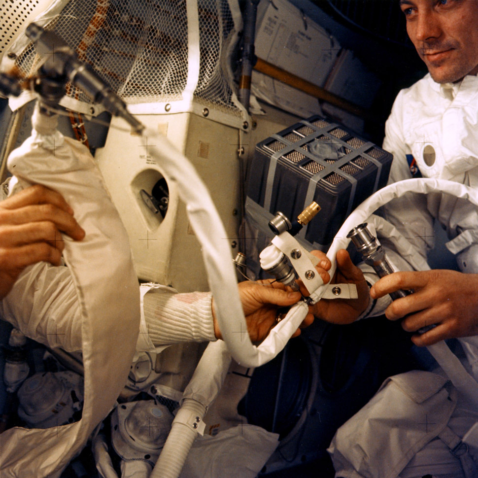 After CO2 levels became dangerously high in the Lunar Module NASA engineers on the ground had to come up with a way to adapt the square shaped CO2 filters from the Service Module.