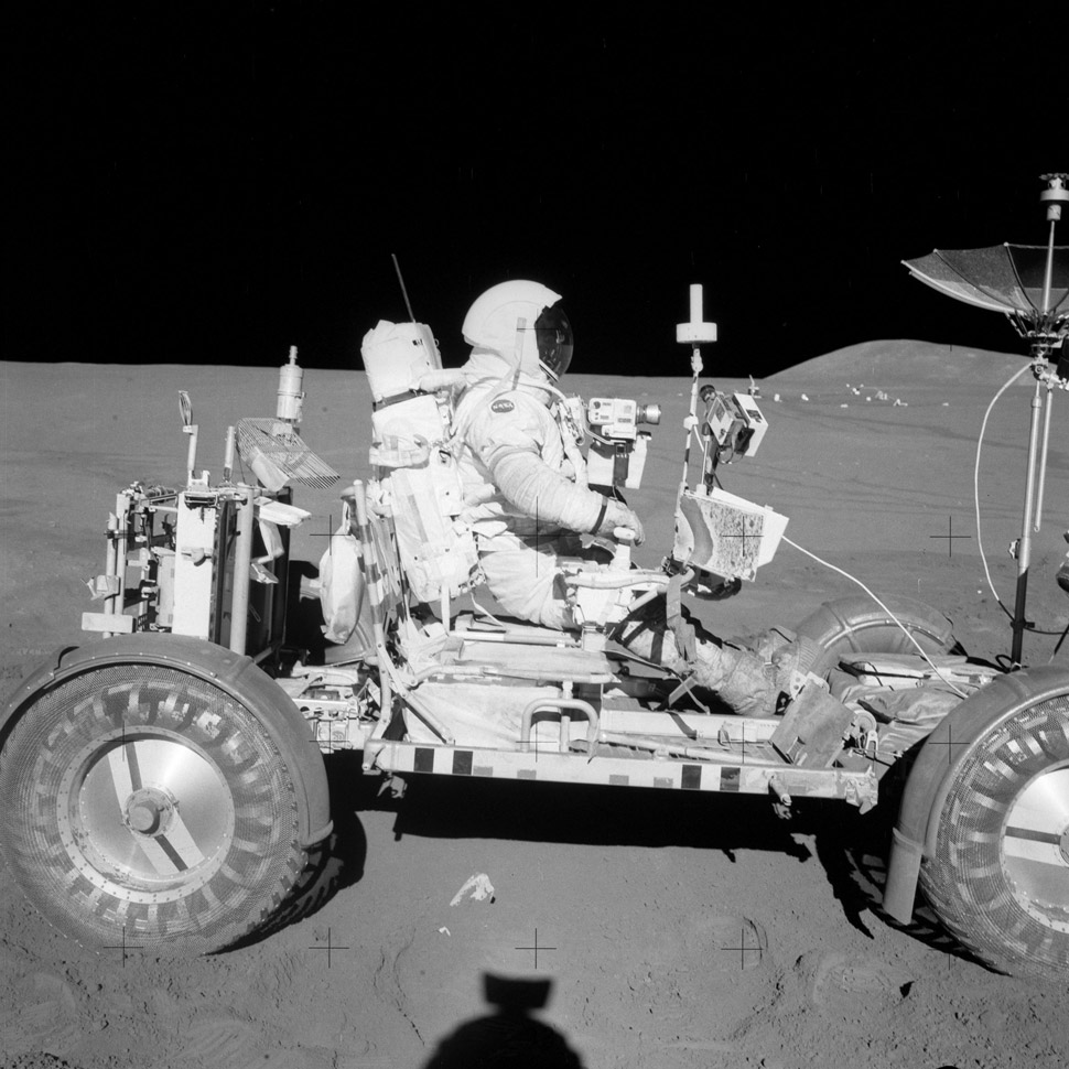 Dave Scott on the Lunar Roving Vehicle (LRV). The LRV had one horsepower, a top speed of eight MPH and a range of six miles but it did just the trick.