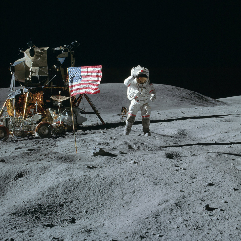 By the time Apollo 16 rolled around, John Young had to get pretty creative with his salute photo.