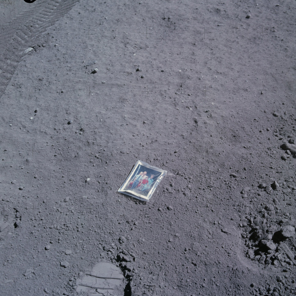 Lunar Module Pilot Charlie Duke left a small family portrait on the lunar surface.
