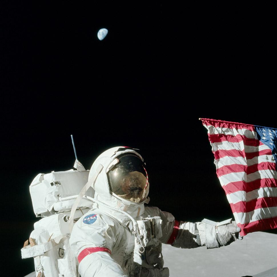 Harrison Schmitt at the beginning of the third and final moonwalk.
