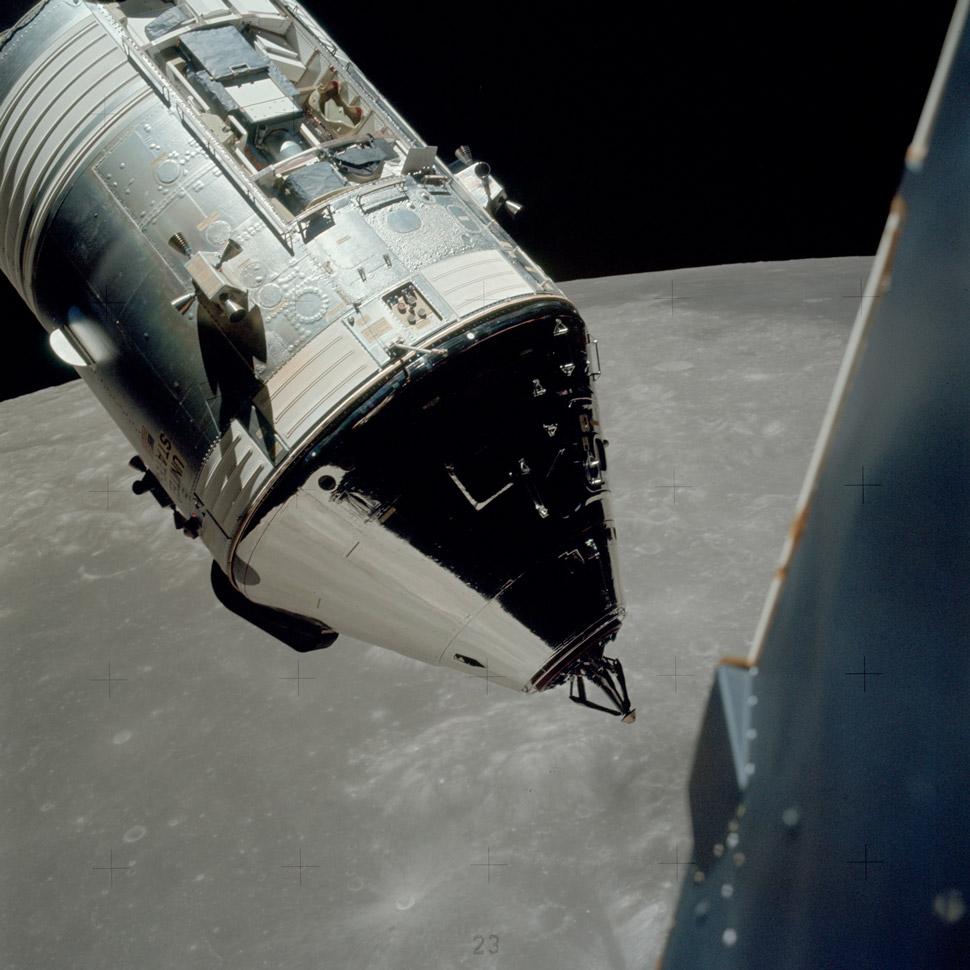 The Apollo 17 CSM (callsign: America) from the lunar module.