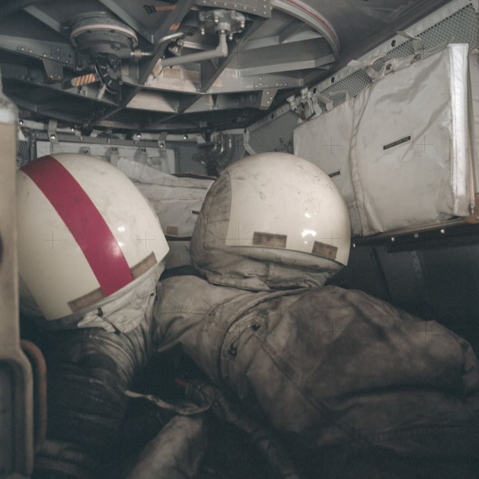 Right before snapping portraits of each other, Gene Cernan and Harrison Schmitt took a photo of their moon suits. After those two no living creature has set foot on a heavenly body.