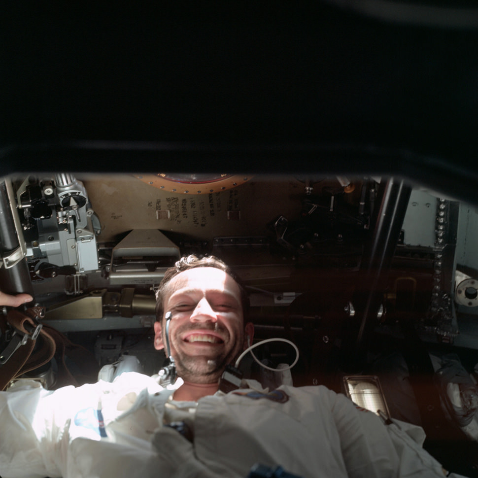 Donn Eisele proving that it's hard to be too stoic in space.