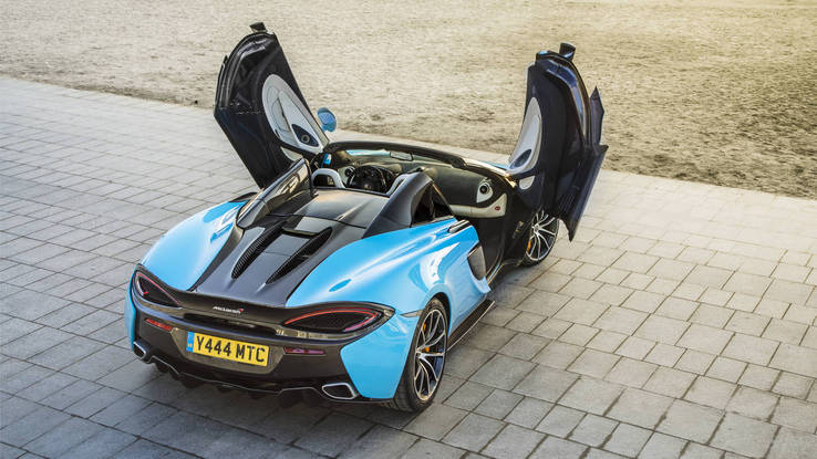 McLaren 570S Spider first drive rear 3-4 doors open