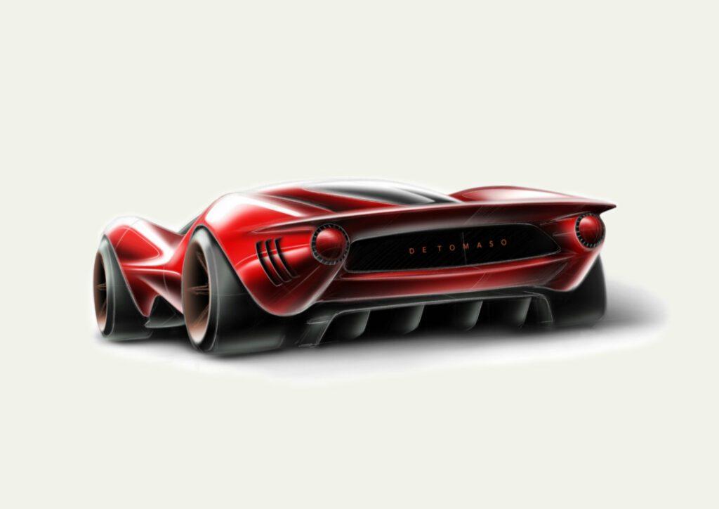 Concept art of the De Tomaso P72 rear end