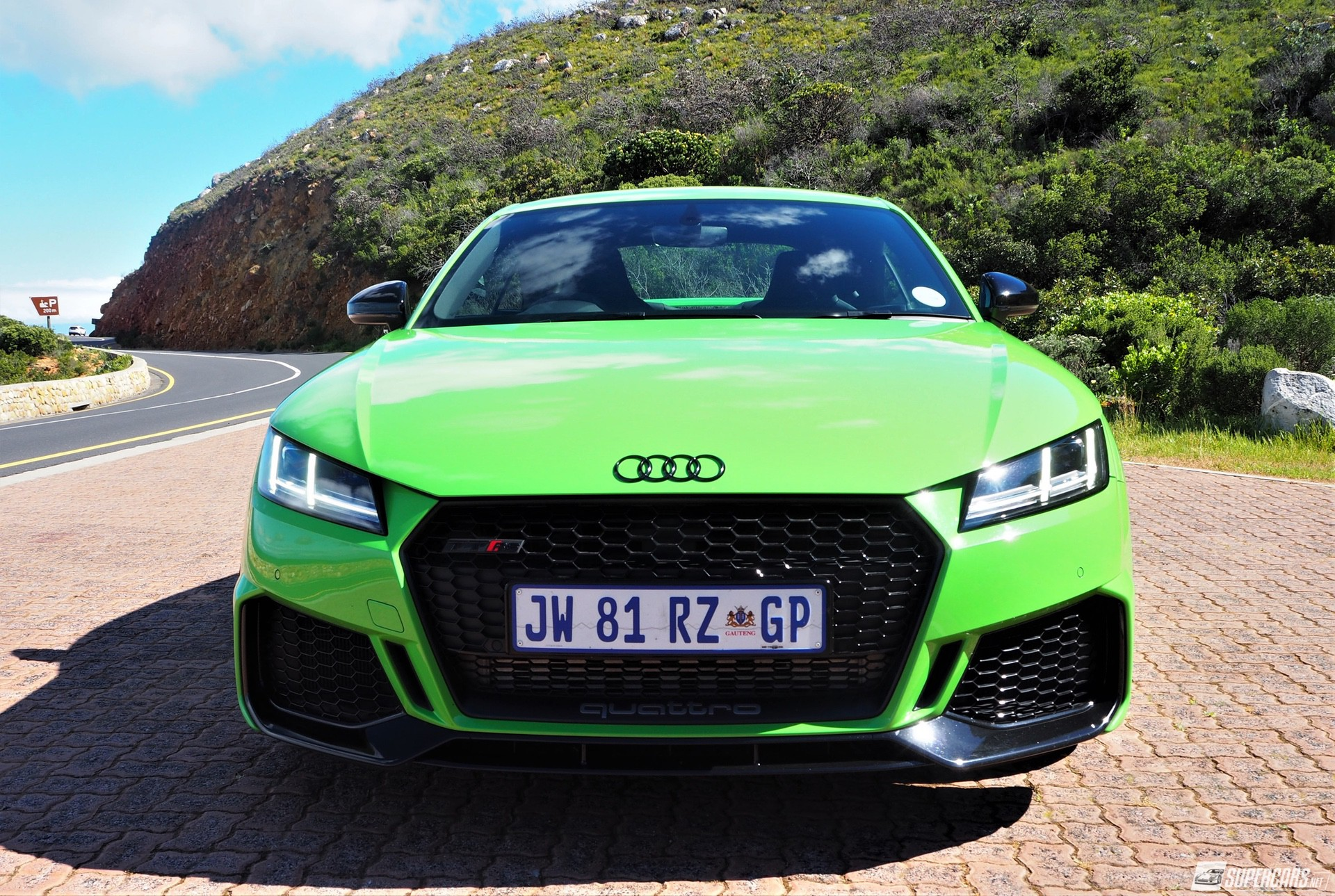 Front view of green 2022 Audi TT RS