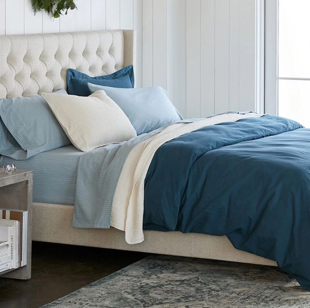 coyuchi flannel sheets on bed