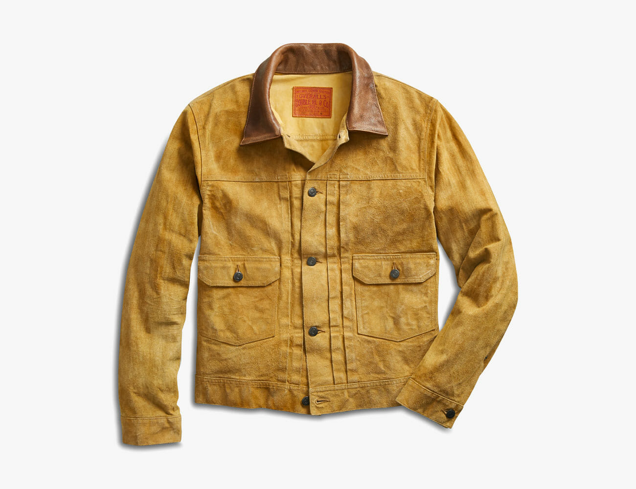 ff2ca33b110dc This hard-wearing take on a Levi's Type II style is made from lightweight  Italian suede. It includes a full-grain calfskin collar, a buttoned  placket, ...